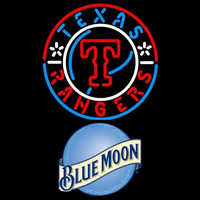 Blue Moon Raunded Texas Rangers MLB Beer Sign Neon Sign