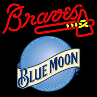 Blue Moon Round Atlanta Braves MLB 16x16 Beer Sign Neon Sign