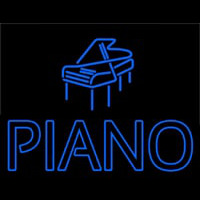 Blue Piano With Logo Neon Sign