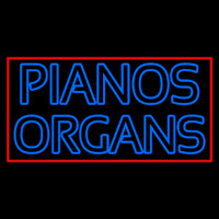 Blue Pianos Organs Block Red Border Neon Sign