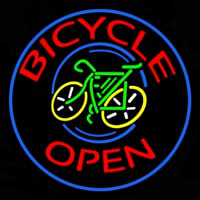 Blue Round Bicycle Open Neon Sign