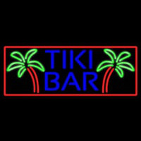 Blue Tiki Bar Palm Tree With Red Border Real Neon Glass Tube Neon Sign