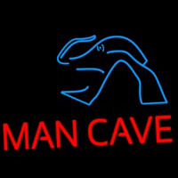 Blue Waves Red Man Cave Neon Sign