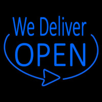 Blue We Deliver Open Neon Sign