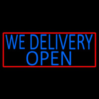 Blue We Deliver Open With Red Border Neon Sign