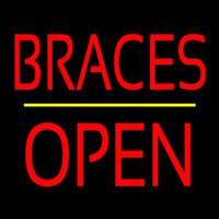 Braces Block Open Yellow Line Neon Sign