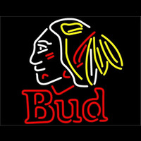 Bud Chicago Blackhawks Indian Neon Beer Sign Neon Sign