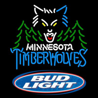 Bud Light Logo Minnesota Timberwolves NBA Beer Sign Neon Sign