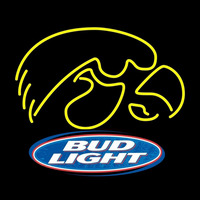 Bud Light Logo University of Iowa Hawkeyes Beer Sign Neon Sign