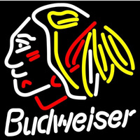 Budweiser Chicago Blackhawks Indian Hockey Beer Sign Neon Sign