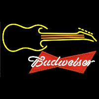 Budweiser Red Guitar Yellow Orange Beer Sign Neon Sign