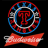 Budweiser Red Texas Rangers MLB Beer Sign Neon Sign