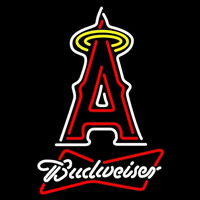 Budweiser White Anaheim Angels MLB Beer Sign Neon Sign