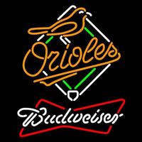 Budweiser White Baltimore Orioles MLB Beer Sign Neon Sign