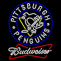 Budweiser White Pittsburgh Penguins Hockey Beer Sign Neon Sign