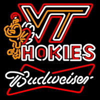 Budweiser White Virginia Tech Vt Hockey Logo Beer Sign Neon Sign