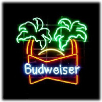 Budweiser double palm trees Beer Bar Neon Sign