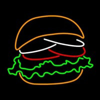 Burger With The Lettuce Tomato Bun Neon Sign