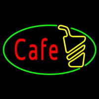 Cafe Red With Green Border Neon Sign