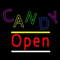Candy Open Yellow Line Neon Sign