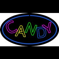 Candy Oval Blue Neon Sign