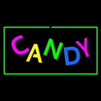 Candy Rectangle Green Neon Sign