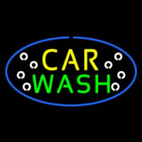 Car Wash Blue Oval Neon Sign