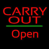 Carry Out Open Green Line Neon Sign