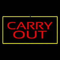 Carry Out Rectangle Yellow Neon Sign