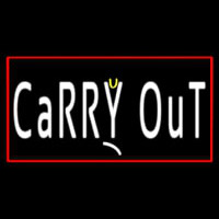Carry Out With Red Border Neon Sign