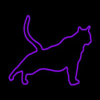 Cat Stretching Purple Neon Sign