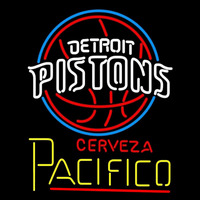 Cerveza Pacifico Detroit Pistons NBA Beer Sign Neon Sign