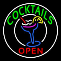 Circular Cocktail With Cocktail Neon Sign
