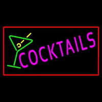 Cocktail with Cocktail Glass Red Border Neon Sign