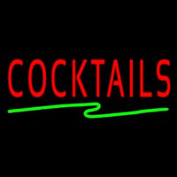 Cocktail with Zigzag Line Neon Sign
