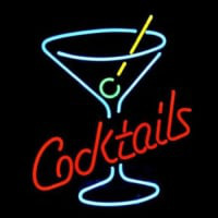 Cocktails Martini Glass Logo Neon Sign