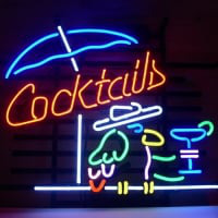 Cocktails Parrot Neon Sign