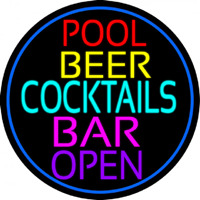 Cocktails Pool Beer Bar Open Neon Sign