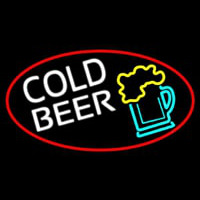 Cold Beer And Beer Mug Oval With Red Border Neon Sign