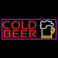 Cold Beer And Beer Mug With Pink Border Neon Sign