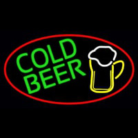 Cold Beer And Mug Oval With Red Border Neon Sign