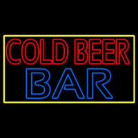 Cold Beer Bar With Yellow Border Neon Sign