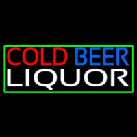 Cold Beer Liquor With Green Border Neon Sign