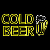 Cold Beer With Beer Mug Neon Sign