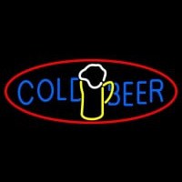Cold Beer With Mug In Between Neon Sign