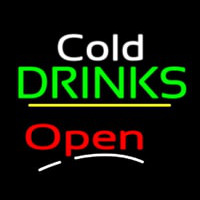 Cold Drinks Open Yellow Line Neon Sign