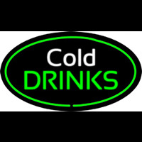 Cold Drinks Oval Green Neon Sign