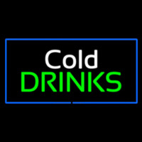 Cold Drinks Rectangle Blue Neon Sign