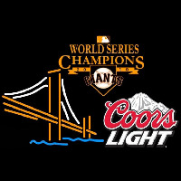 Coors Light Mountain Golden Gate San Francisco Giants 2010 World Series Champions Logo Beer Sign Neon Sign