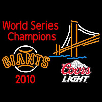 Coors Light Mountain Golden Gate San Francisco Giants World Series 2010 Champions Logo Beer Sign Neon Sign
